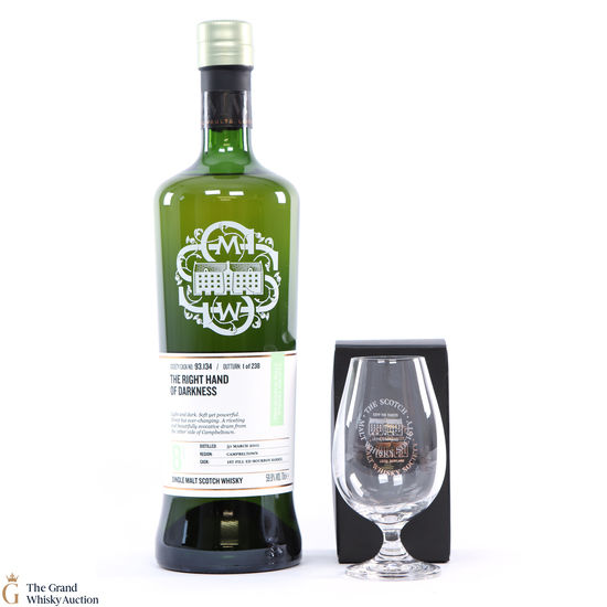 Glen Scotia - 8 Year Old SMWS 93.134 The Right Hand of Darkness + Glass