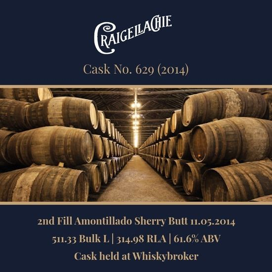 Craigellachie - 2014 2nd fill Amontillado sherry butt #629 - 511.33Bulk L @ 61.6% | Held In Bond