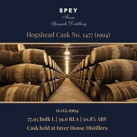 Speyside - 1994 Hogshead #1477 -  78 Bulk L 50.8% | Held In Bond
