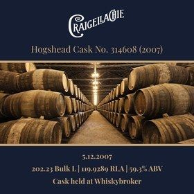 Craigellachie - 2007 Hogshead #314608 -  202 Bulk L 59.3% | Held In Bond